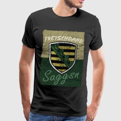 Freischdahd Saggsn - Saxon Humor - Coat of Arms - Men's Premium T-Shirt