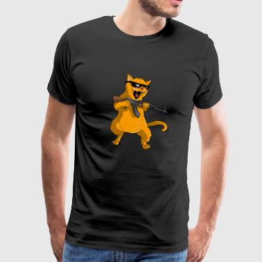 Killer Cat Gangster glazen pistool Fun Gift - Mannen Premium T-shirt