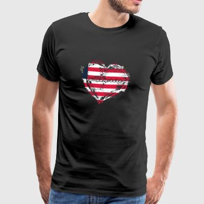 HOME COUNTRY ROOTS GIFT LOVE Liberia - Premium-T-shirt herr