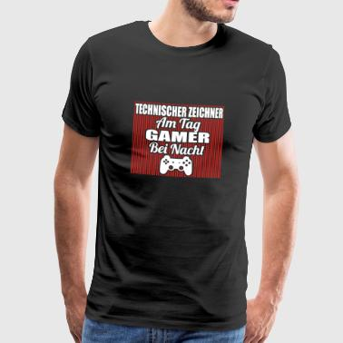 Gambling by day gamer night TECHNICAL DRAWING png - Men's Premium T-Shirt