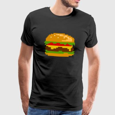 Pixel Burger - Nerd Fast Food Design - Men's Premium T-Shirt