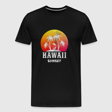 Hawaii / Sunset / Palmer / Gift - Premium T-skjorte for menn