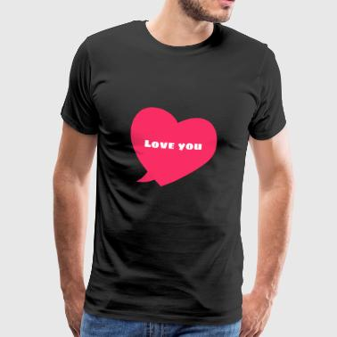 Simple pink heart speech bubble design / symbol - Men's Premium T-Shirt