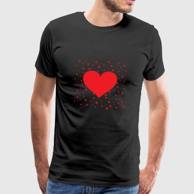 Red heart with little stars in the background - Men's Premium T-Shirt