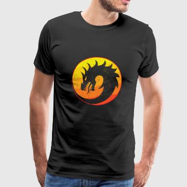 Flaming Dragon Retro - Premium T-skjorte for menn