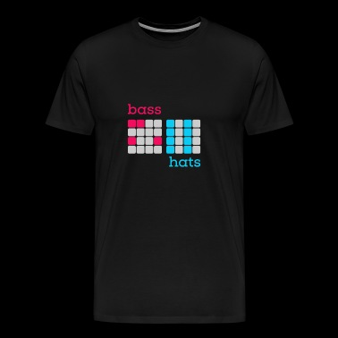 Bass HiHats - Drum Machine font red / light blue V2 - Men's Premium T-Shirt