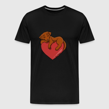 Labrador Chocolate Heart - Herre premium T-shirt