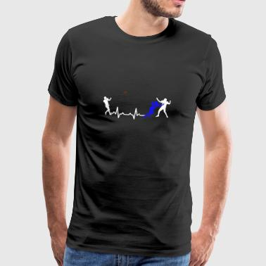 American football heartbeat heartbeat gift - Men's Premium T-Shirt