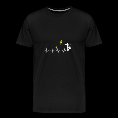 Electrician electricity mast heartbeat gift occupation - Men's Premium T-Shirt