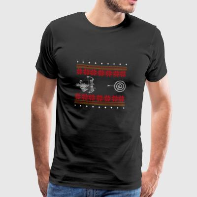 archery ugly sweater xmas gift shoot - Men's Premium T-Shirt