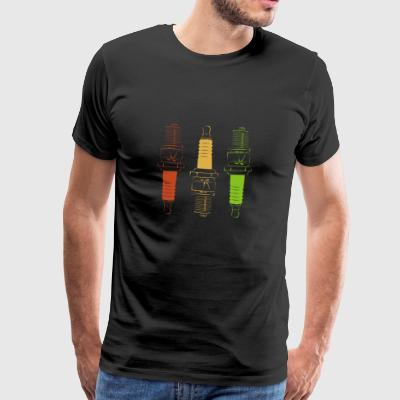 Spark Plugs - Red Yellow Green - Mannen Premium T-shirt