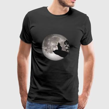 Full Moon Dog Werewolf Wolf Howling Wolf Pup - Men's Premium T-Shirt