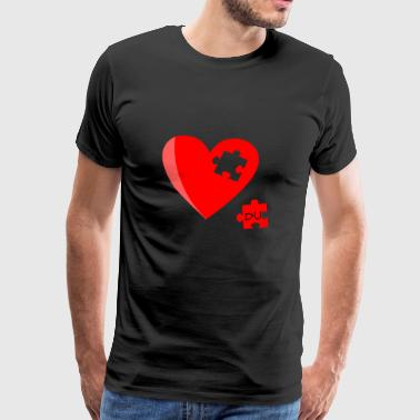 Heart Puzzle Missing Valentine's Day Gift - Men's Premium T-Shirt