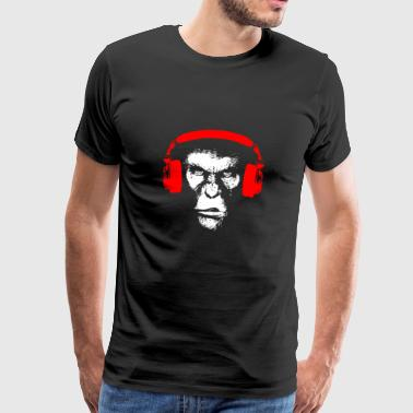Gorilla with headphones - monkey music bass gift - Men's Premium T-Shirt