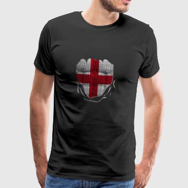 Funny England Flag Ripped Abs Muscles - Männer Premium T-Shirt