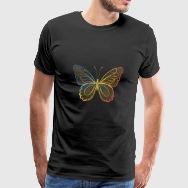 Butterfly in regenbogefarben hand drawn, - Men's Premium T-Shirt
