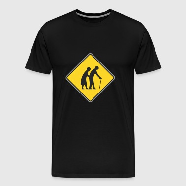 Road sign Old people - Men's Premium T-Shirt