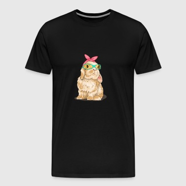 Cute bunny with glasses and headscarf - Men's Premium T-Shirt