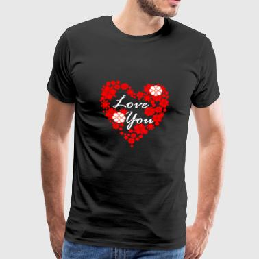 Love You Heart Heart | elsker - Herre premium T-shirt