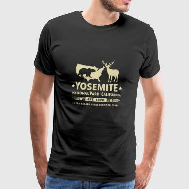 Yosemite National Park Black Bear Deer Redwood - Mannen Premium T-shirt