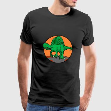 Orange green vintage spinosaurus - Men's Premium T-Shirt