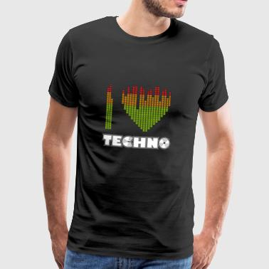I love Techno equalizer heart dance clubbing - Männer Premium T-Shirt