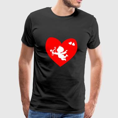 white cupid, red heart - Men's Premium T-Shirt