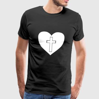 Cross in heart gift gift idea - Men's Premium T-Shirt