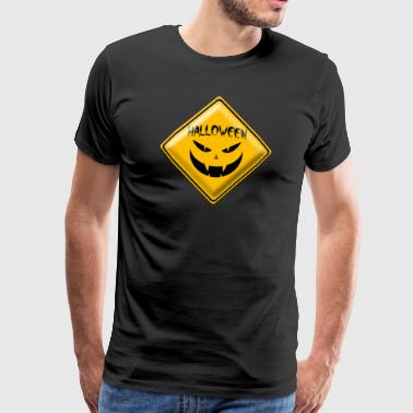 Halloween sign 001 runda design - Premium-T-shirt herr