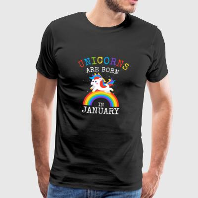 Unicorns are born in January Funny Birthday Party - Men's Premium T-Shirt