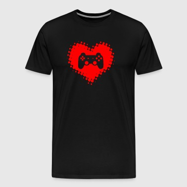I love video games - GamesGamer Gaming heart - Men's Premium T-Shirt