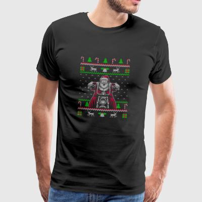 Motorcycle Biker Ugly Christmas Sweater Gift - Men's Premium T-Shirt