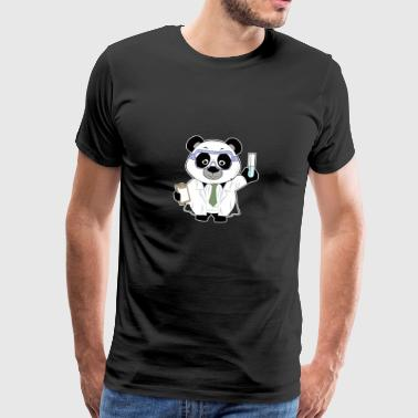 Panda comic scientist chemistry biology - Men's Premium T-Shirt