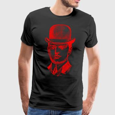 Gentleman with melon in red - Men's Premium T-Shirt