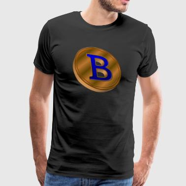bitcoin gold coin with blue crypto - Men's Premium T-Shirt