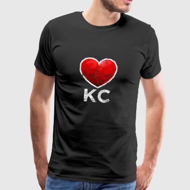 Kansas City Heart T Shirt Distressed - Koszulka męska Premium