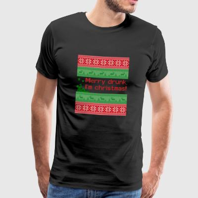 Ugly Christmas Sweater - Merry drunk I'm christmas - Männer Premium T-Shirt