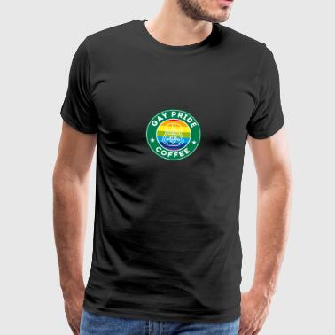 Coffee icon gay rainbow father humor - Men's Premium T-Shirt