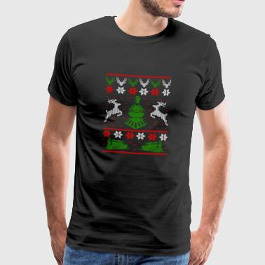 Railroad locomotive Ugly Christmas - Men's Premium T-Shirt