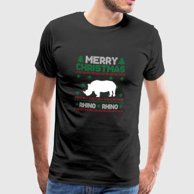 Cute Kids Rhinoceros Ugly Christmas Tshirt - Men's Premium T-Shirt