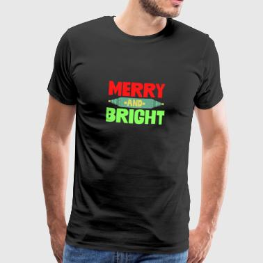 Merry And Bright Christmas Greeting Holiday Xmas - Men's Premium T-Shirt
