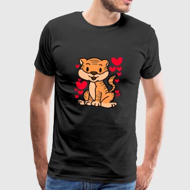 Tiger Love T-Shirt - Valentines Day Cute Hearts - Men's Premium T-Shirt