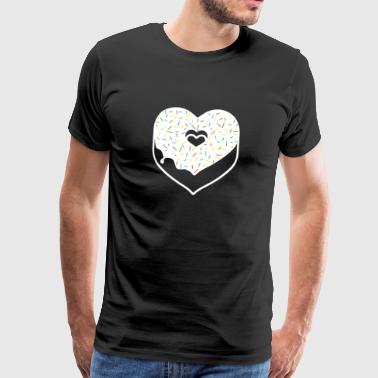Donut Heart Sprinkles Topping Valentine Holiday - Herre premium T-shirt