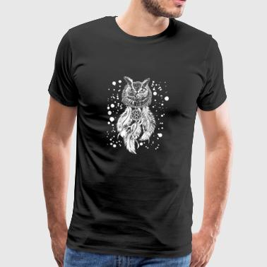 Owl Dream Catcher T-skjorte - Cool nattlige fugler - Premium T-skjorte for menn
