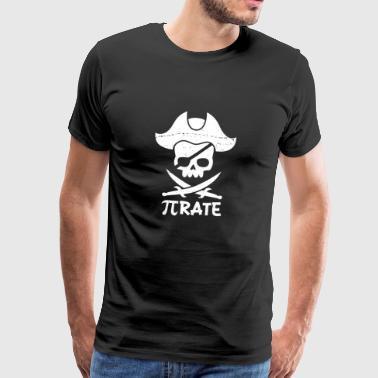Pi Pirate Cross Sword Funny Mathematics Pi Day - Men's Premium T-Shirt
