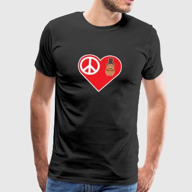 Peace Love Groundhog With Top Hat Bow Tie - Men's Premium T-Shirt