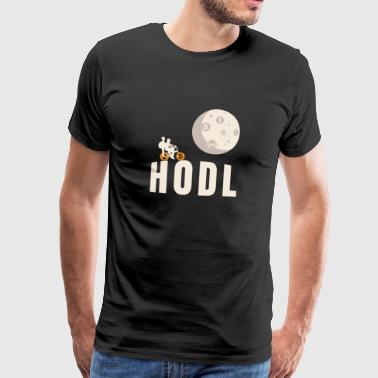 HODL Bicycle Flying Moon Cryptocurrency Blockchain - Men's Premium T-Shirt