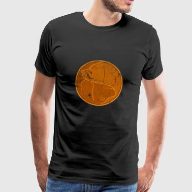 Yin Yang Dogs Copper Light Tai Chi Symbol Distress - Men's Premium T-Shirt