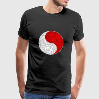 Yin And Yang Roses weißes und rotes chinesisches Symbol - Männer Premium T-Shirt
