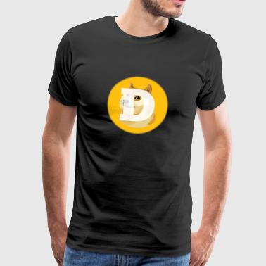 Dogecoin Logo- Blockchain HODL Cryptocurrency - Men's Premium T-Shirt